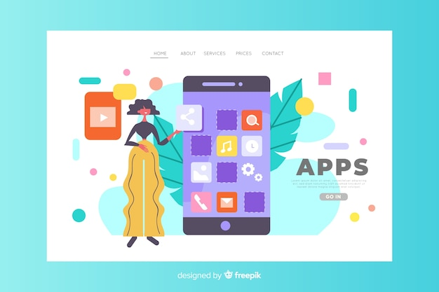 Mobile apps concept for landing page