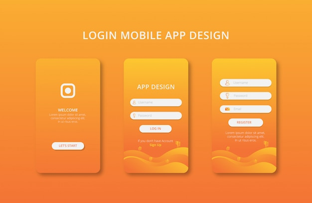 Mobile apps design with gradient color premium vector