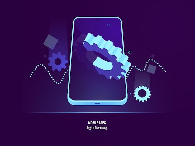 Sviluppo di app mobili, installazione di applicazioni e concetto di aggiornamento, impostazione dello smartphone