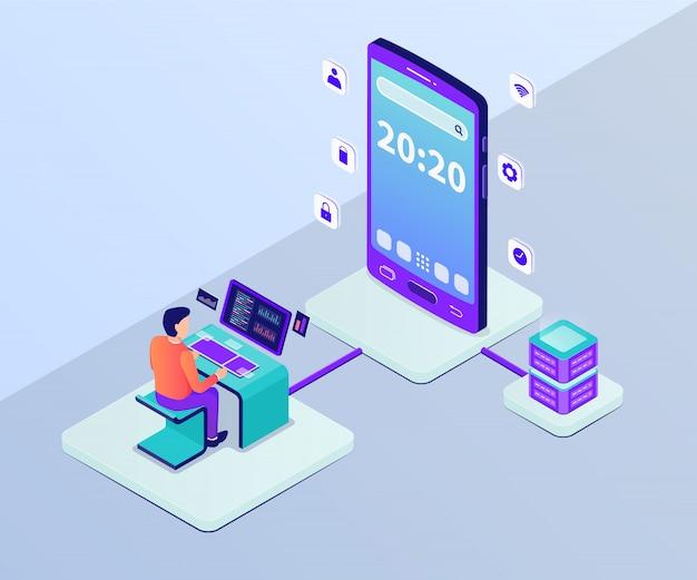 アイソメ図スタイルの大きなスマートフォンを持つ男プログラマー開発者とモバイルアプリ開発コンセプト