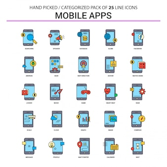 Mobile apps flat line icon set