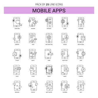 Mobile apps line icon set - 25 dashed outline style