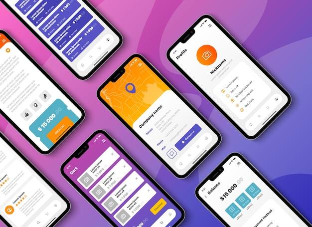 사용자 인터페이스가 다른 모바일 앱 스마트 폰 화면