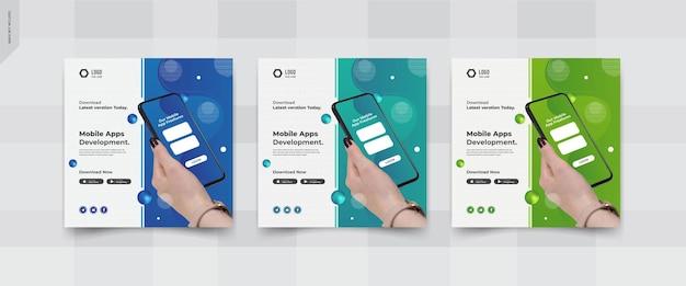 Mobile apps social media post templates design