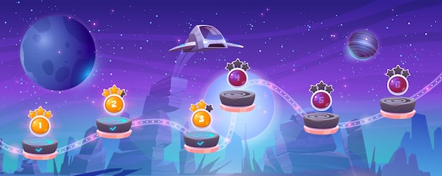 Mobile arcade with spaceship interstellar shuttle hover above alien planet with rocks and assets on flying rocky platforms