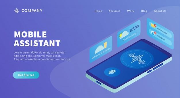 スマートフォンとビジネスアイコンを備えたモバイルアシスタントアプリのコンセプトは、人工知能技術に役立ちます