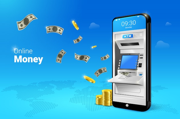 Mobile atm money transfer or withdrawal with falling moneys illustration.