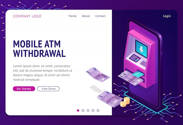 Mobile atm withdrawal isometric landing page