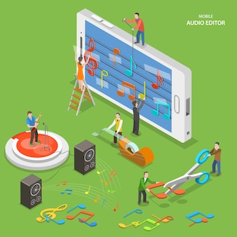Mobile audio editor flat isometric vector concept.