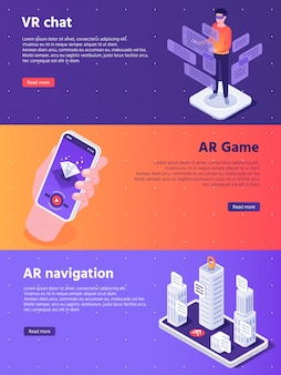 Mobile augmented reality. isometric virtual ar device entertainment banners concept illustration