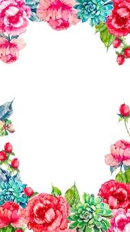Mobile background with colorful watercolor flowers