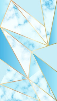 Mobile background with marble effect and blue geometric shapes