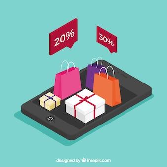 Мобильный фон с интернет-магазинами в изометрическом стиле