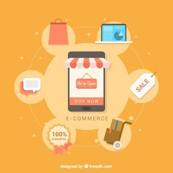 フラットデザインのオンラインショッピングアイテムを備えたモバイルの背景