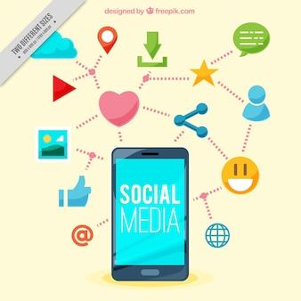 소셜 네트워킹 아이콘으로 모바일 배경