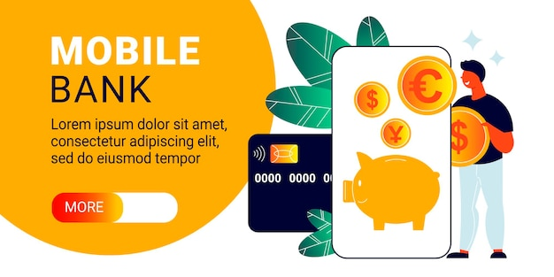 Mobile bank horizontal banner with smartphone, credit card and coins