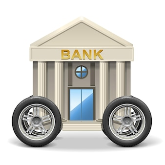 흰색 배경에 고립 된 모바일 은행