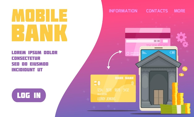 Mobile bank service poster with contacts and information symbols flat