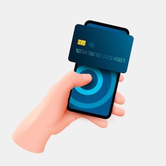 모바일 뱅킹 앱 및 전자 지불. 스마트 폰으로 손을 잡고 전자 지갑을 통해 신용 카드로 지불