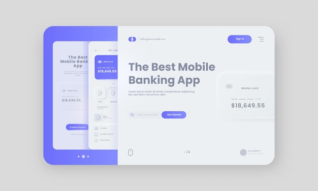 Mobile banking app hero banner or landing page in white and blue color.