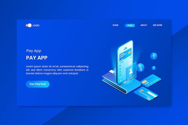 モバイルバンキングアプリのアイソメトリックコンセプトのランディングページ
