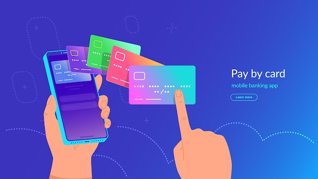 Mobile banking app and payment by credit card via electronic wallet wirelessly and easy. bright vector illustration of human hand holding smartphone and choosing a bank card for online mobile payment