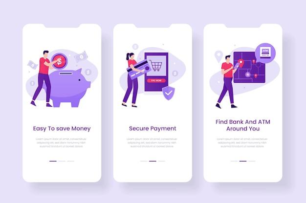 Дизайн экрана мобильного банкинга. иллюстрации для сайтов, лендингов, мобильных приложений, постеров и баннеров.