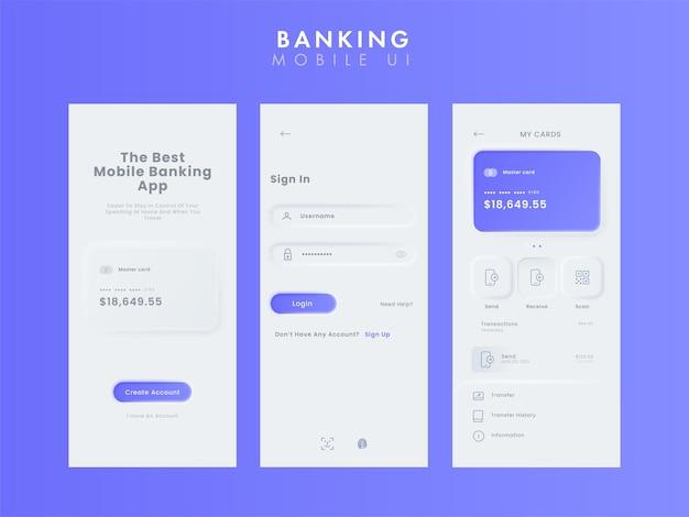 Комплект пользовательского интерфейса мобильного банковского приложения или шаблон экрана-заставки для создания учетной записи