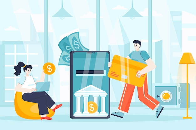 Mobile banking concept in flat design illustration of people characters for landing page