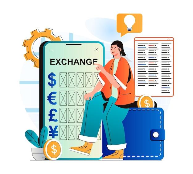 Концепция мобильного банкинга в современном плоском дизайне женщина обменивает валюту между электронными кошельками