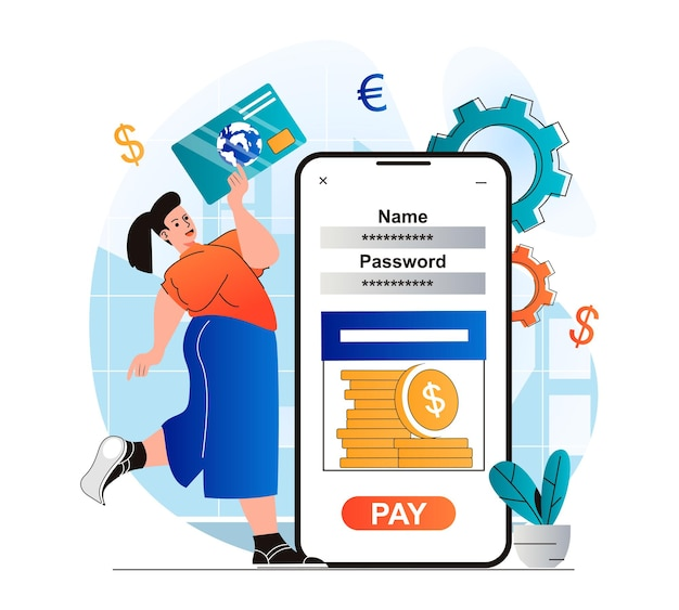 Mobile banking concept in modern flat design woman accessing financial account and credit card