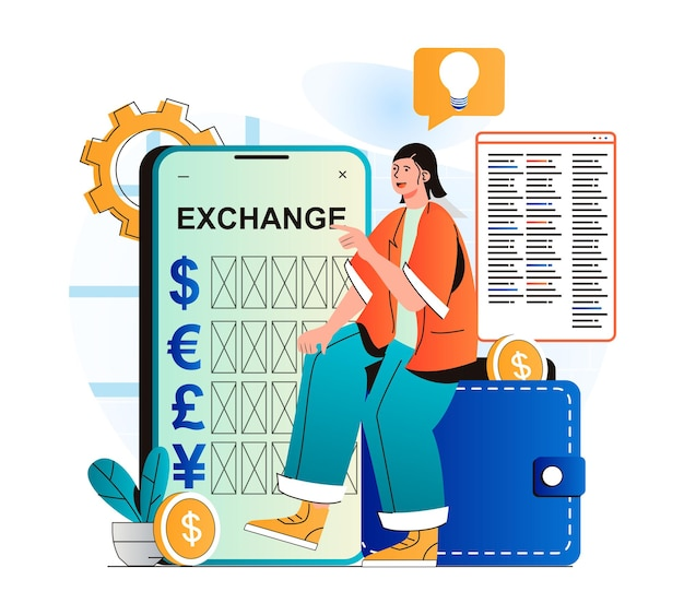 Mobile banking concept in modern flat design woman exchanges currency between ewallets