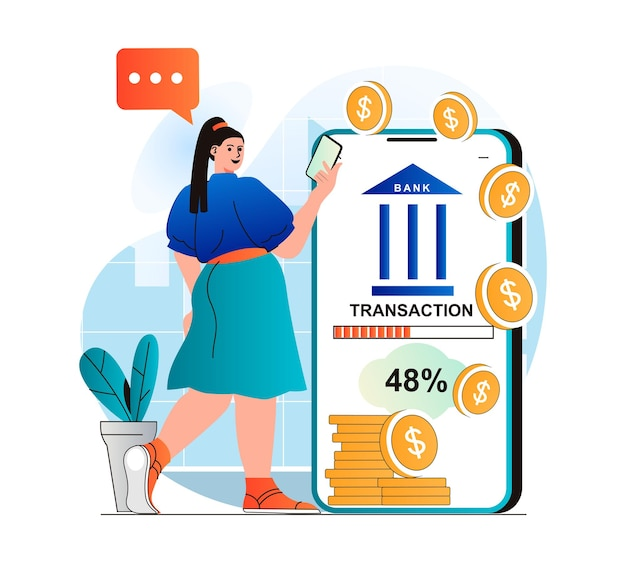 Mobile banking concept in modern flat design woman receives financial services in mobile