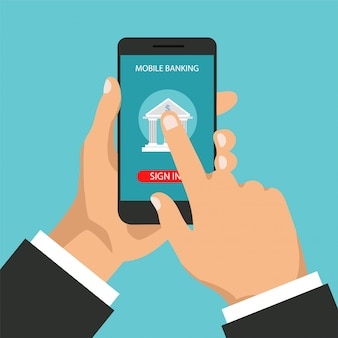 Mobile banking concept. money transaction, business and mobile payment. businessman holds a phone and signs in app. illustration in a flat trendy style.