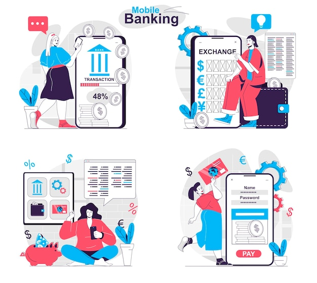 Mobile banking concept set online services for exchange transaction accounting