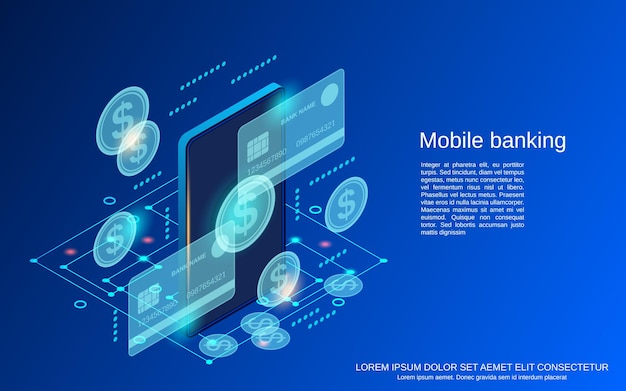 Mobile banking flat 3d isometric vector concept illustration