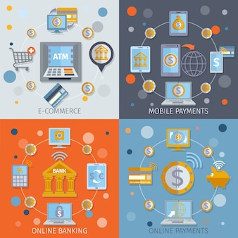 Mobile banking icons flat
