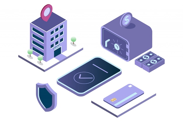 Mobile banking illustration, money saving in safe deposit box