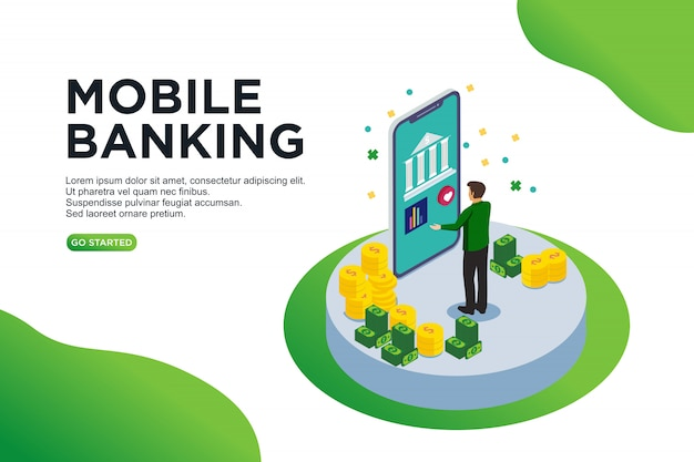 Mobile banking isometric vector illustration concept