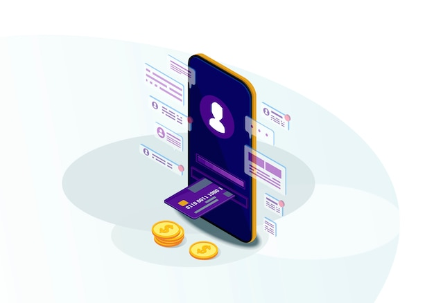 Mobile banking isometric