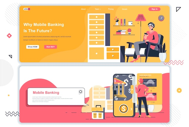 Mobile banking landing pages