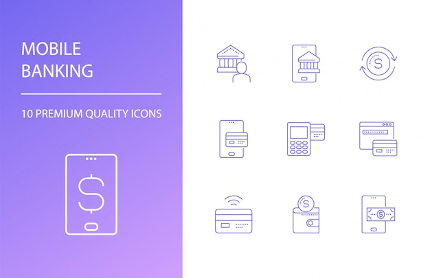 Mobile banking line icons set