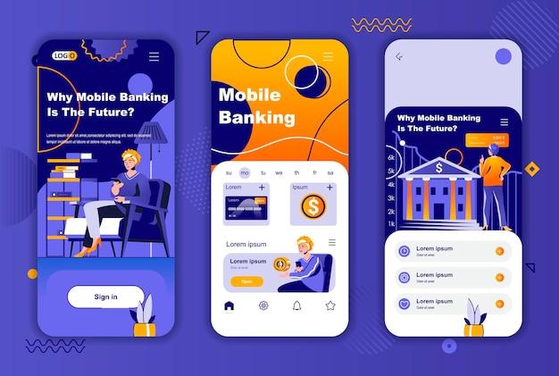 소셜 네트워크 스토리 용 모바일 뱅킹 모바일 앱 화면 템플릿