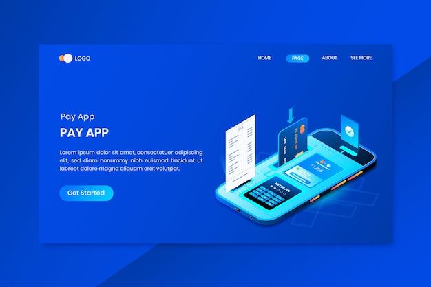 モバイルバンキング決済アプリアイソメトリックコンセプトのランディングページ