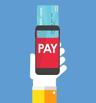 Мобильный банковский платеж плоский концепции векторные иллюстрации. eps10