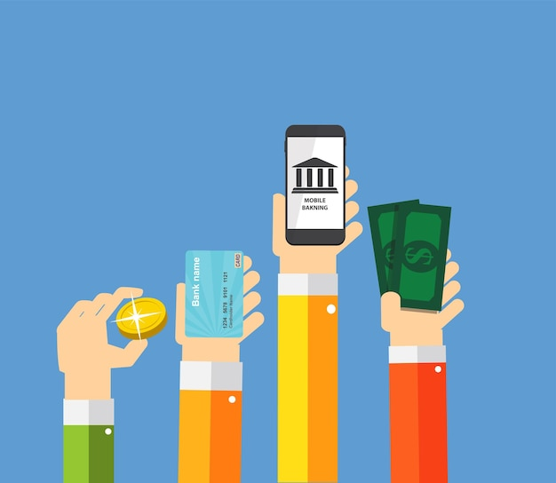 Mobile banking payment flat concept vector illustration. eps10