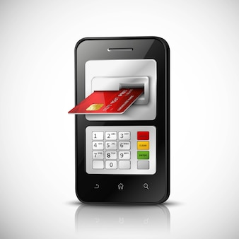 Mobile banking realistic concept with mobile phone and credit card