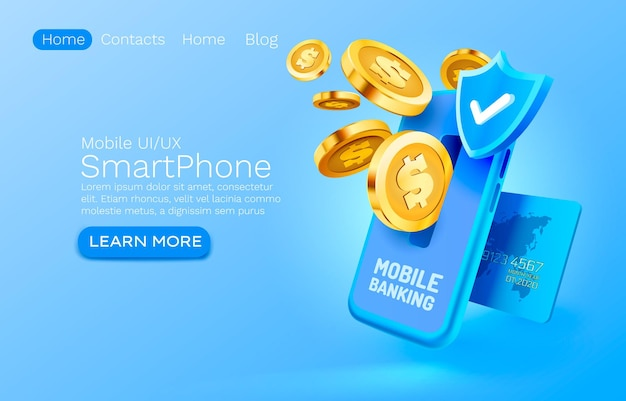 Финансовый платеж мобильного банковского обслуживания на целевой странице мобильного экрана смартфона