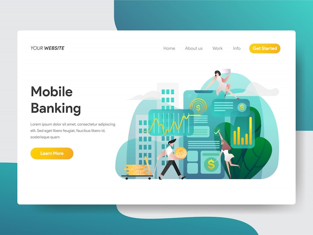 Mobile banking for web page