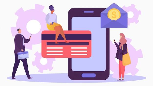 카드, 일러스트와 함께 모바일 뱅킹. 인터넷 거래, 스마트 폰으로 온라인 은행 결제 기술 개념.